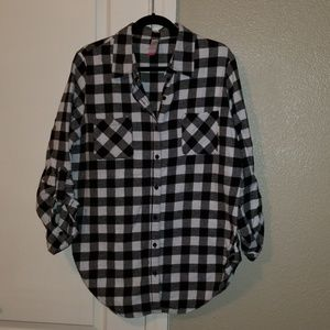 Black and white checkered flannel shirt